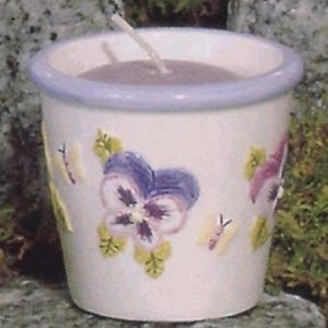 Pansies Ceramic Votive Candle Holder #10157 (NWT)
